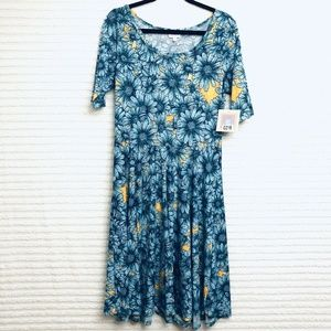 LuLaRoe Amelia XL Blue Yellow Floral Pleated Dress